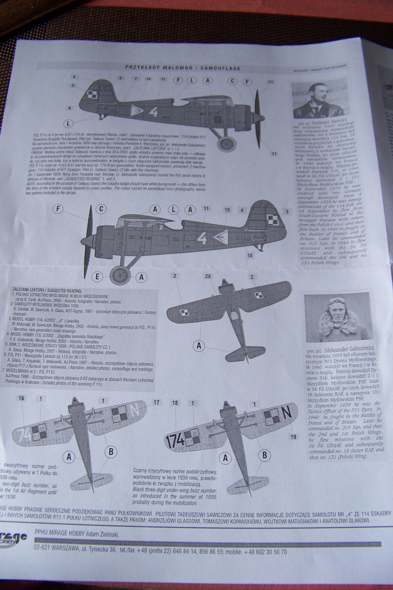 [MIRAGE] PZL P-11c .121 Eskadra Mysliwska, III/2 Pulk Lotniczy : Skończone Réf 48102  100_7726