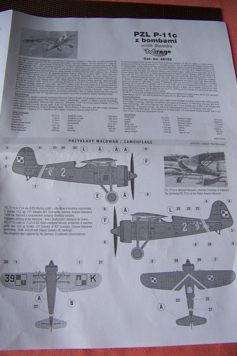 [MIRAGE] PZL P-11c .121 Eskadra Mysliwska, III/2 Pulk Lotniczy : Skończone Réf 48102  100_7728
