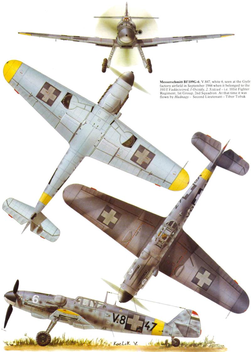 Bf 109 G-6 Hongrois V-8+71 du l'escadron de chasse 4/101 ( Octobre 1944) Hasegawa 1/48 +Décals Aviation USK 13_2310
