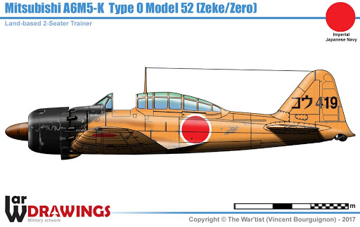 "A6M2-K Reisen  le ""Trainer"" de la Marine Impériale  1/48 Hasegawa Fini Unname36"
