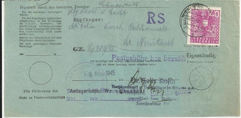 Postgebühren für Rückscheinbriefe der Behörden in der 2.Republik Bild24