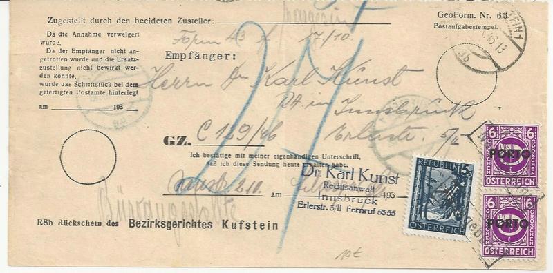 Postgebühren für Rückscheinbriefe der Behörden in der 2.Republik Bild28