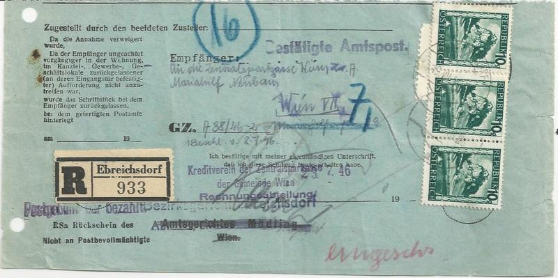 Postgebühren für Rückscheinbriefe der Behörden in der 2.Republik Bild31