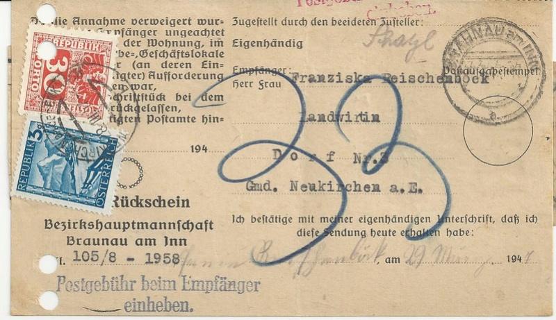 Postgebühren für Rückscheinbriefe der Behörden in der 2.Republik Bild_226