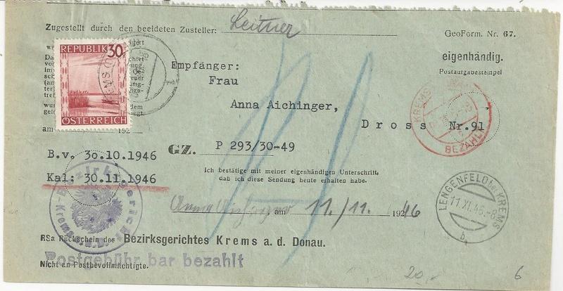 Postgebühren für Rückscheinbriefe der Behörden in der 2.Republik Bild_228