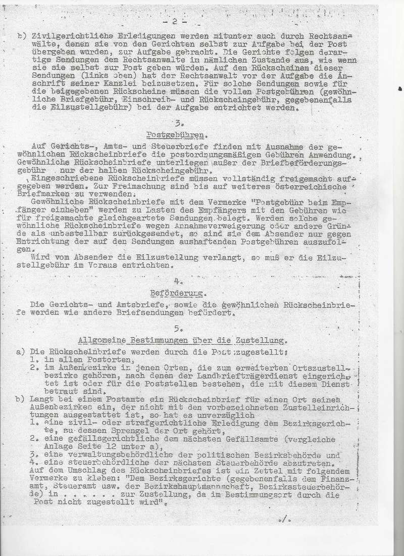 Postgebühren für Rückscheinbriefe der Behörden in der 2.Republik Bild_232