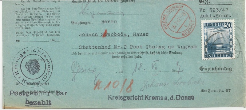 Postgebühren für Rückscheinbriefe der Behörden in der 2.Republik Bild_323