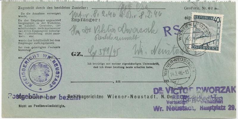 Postgebühren für Rückscheinbriefe der Behörden in der 2.Republik Bild_416