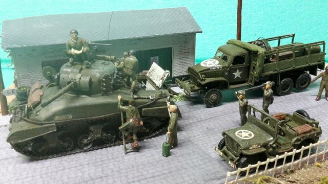 EN PANNE : Sherman M4-A1 [ ESCI ] + Jeep 1/4 t [ ITALERI ] + GMC 2,5 ton (Academy) Figurines [AIRFIX] (Diorama 1/72° FINI) 1_2_co11