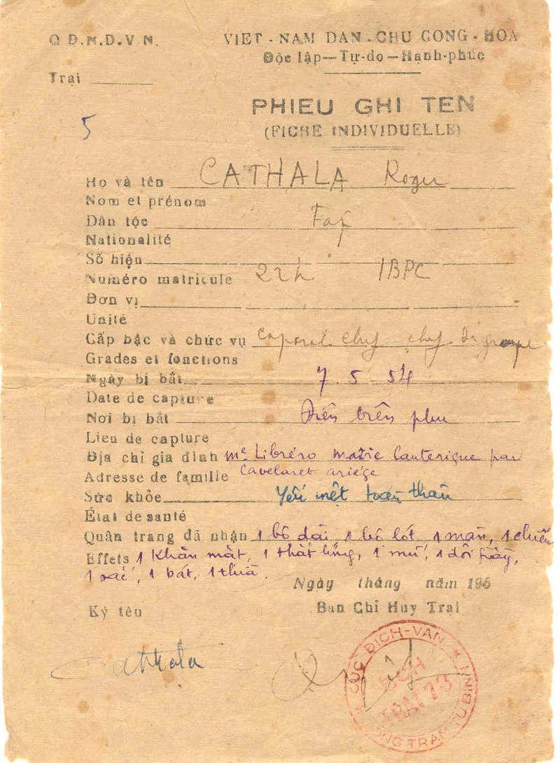62ème anniversaire de la libération des captifs du Vietminh. Pour marquer cette commémoration, une messe sera dite pour les anciens prisonniers du Vietminh morts en captivité Roger_10