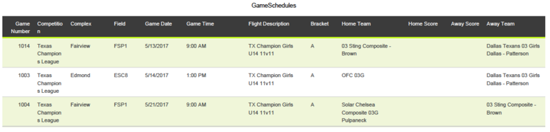 U14 The Champions League Schedule Tcl411