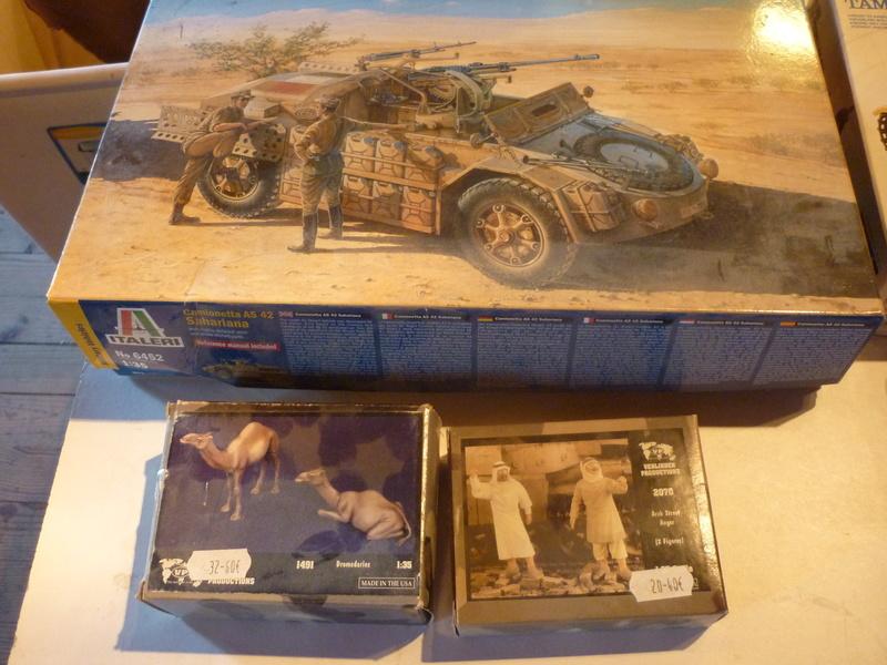 Tunisie 1943: Semovente M40 Tamiya + Camionetta AS 42 Sahariana Italeri + personnages et dromadaires Verlinden 1/35 P1070018