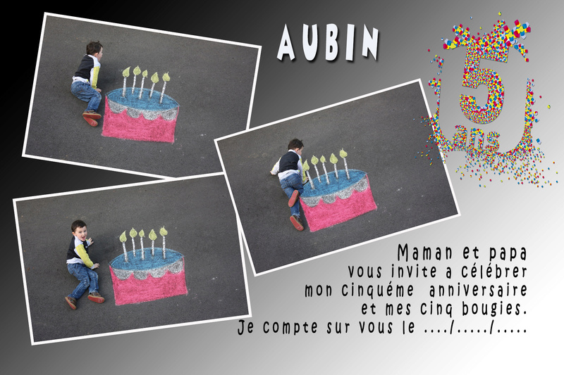 montage anniversaire gâteau à la craie. Aubin110