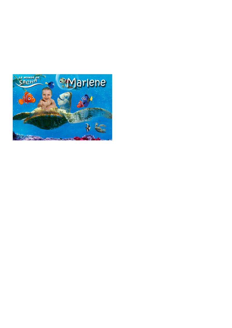 faire part bapteme le monde de nemo, affiche, etiquette porte nom, et carton inviation anniversaire adverger lukas 6ans Marque22