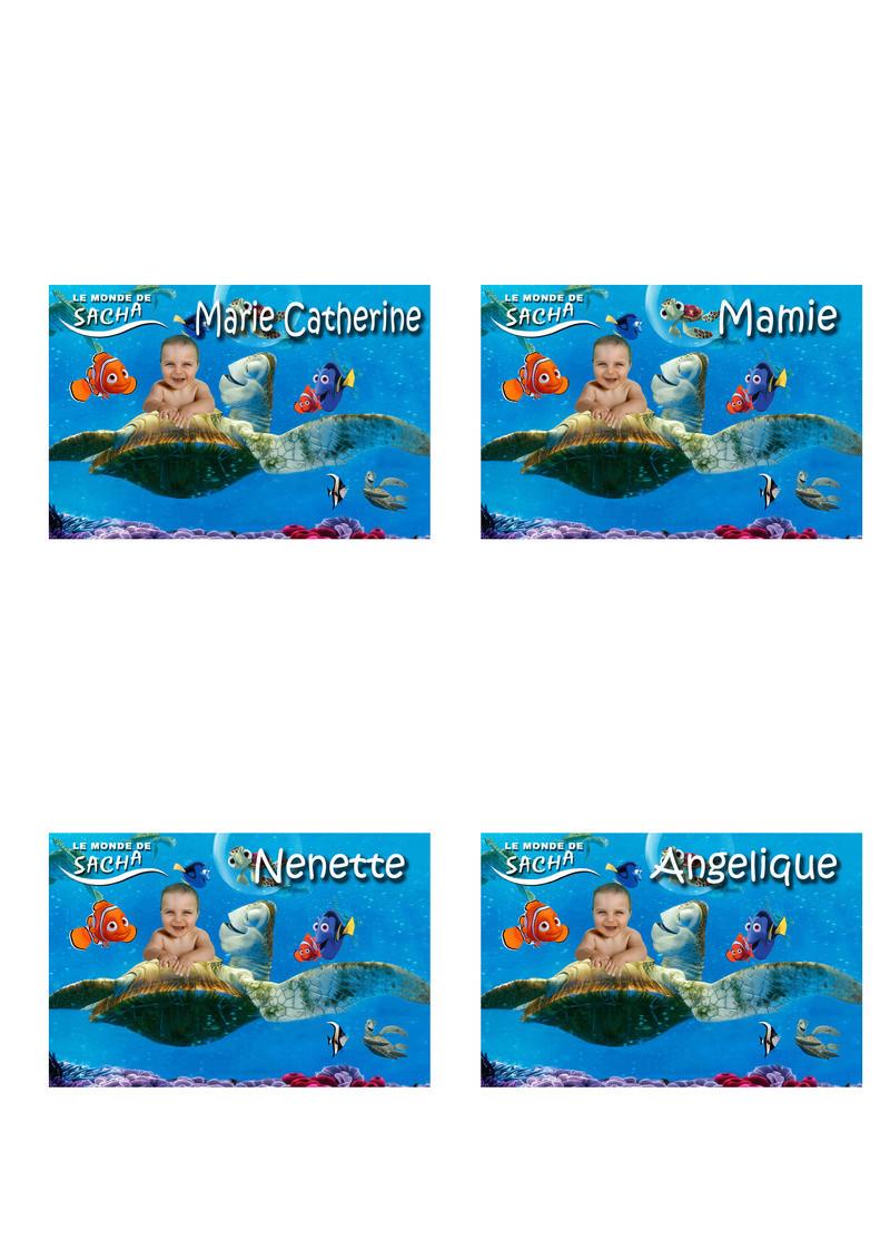 faire part bapteme le monde de nemo, affiche, etiquette porte nom, et carton inviation anniversaire adverger lukas 6ans Marque23