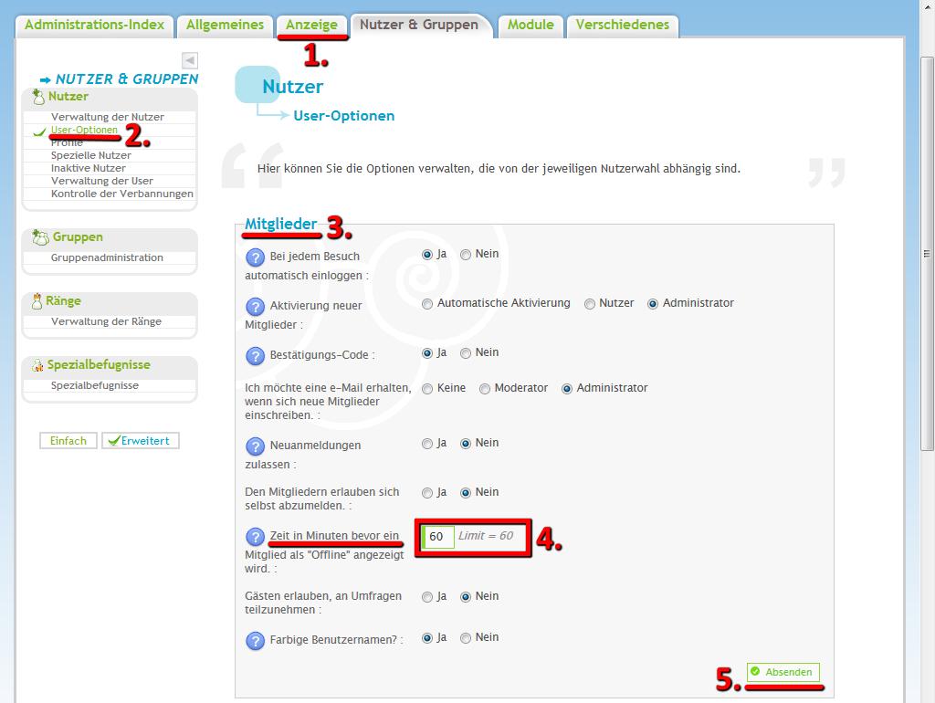 Onlineanzeige bei Inaktivität - Ausgeloggt nach kurzer Zeit Online10