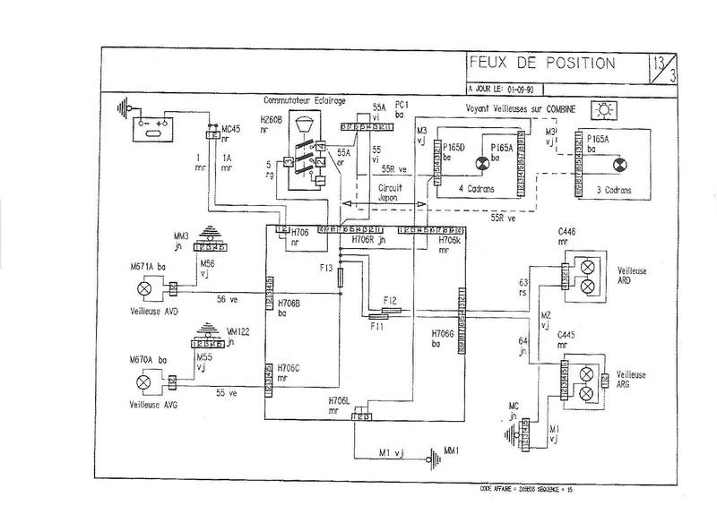 correspondances des fils sur prises habitacle 1991_115