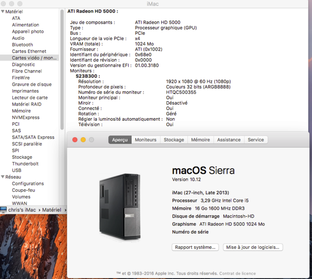 Dell Optiplex 790 macOS High Siera / (Fonctionne 10.6 A 10.13) 1captu20