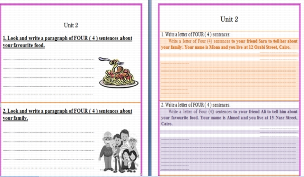 تدريب على أهم البراجرافات والخطابات فى الوحدة الثانية للصف السادس الابتدائى منهج Time For English 0022210