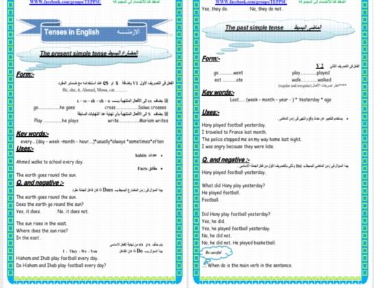 """شرح لجميع قواعد اللغة الانجليزية للمرحله الاعداديه """"مذكرة تحفة 35 ورقة"""" 014711"""