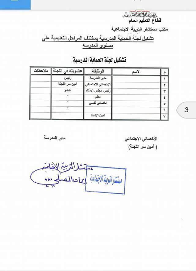 مستشار التربية الاجتماعية: تشكيل لجنة الحماية المدرسية بمختلف المراحل التعليمية على مستوى المدرسة 0910