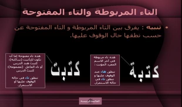 لكل من يريد أن يتعلم الإملاء بإسلوب سهل و ميسر: عرض بوربوينت يشمل معظم قواعد الإملاء في اللغة العربية 20012