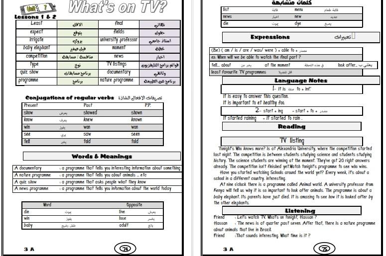 اقوى مذكرة لغة انجليزية للصف الثانى الاعدادي ترم اول .. مستر محمد شعراوي 422210