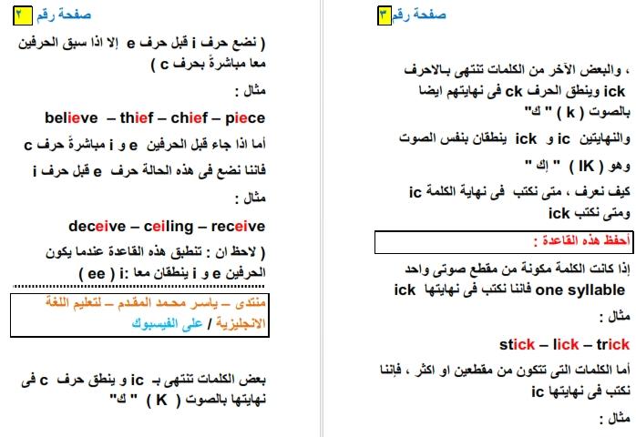 أول مذكرة مصريًّة و عربيَّة لشرح قواعد الـSpelling فى اللغة الانجليزية 5200010