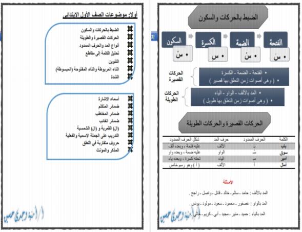 بوكليت الأساليب والقواعد النحوية للصفوف الاولية الترمين 2017 5517