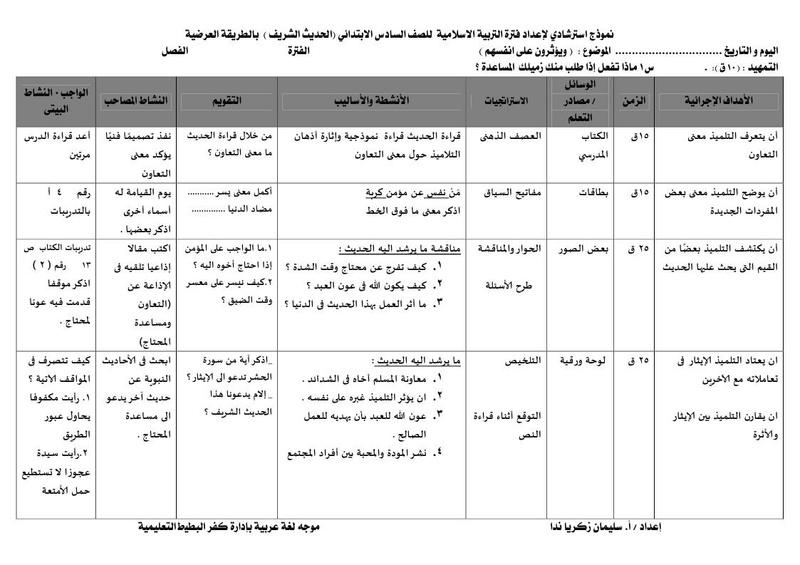 تحضير تربية اسلامية للصف السادس الابتدائي بالطريقة العرضية A_a_oo11