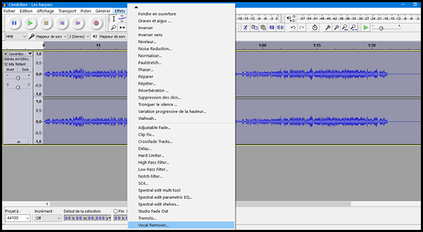 [Audacity] Réaliser un instrumental à partir d'une chanson Audaci15