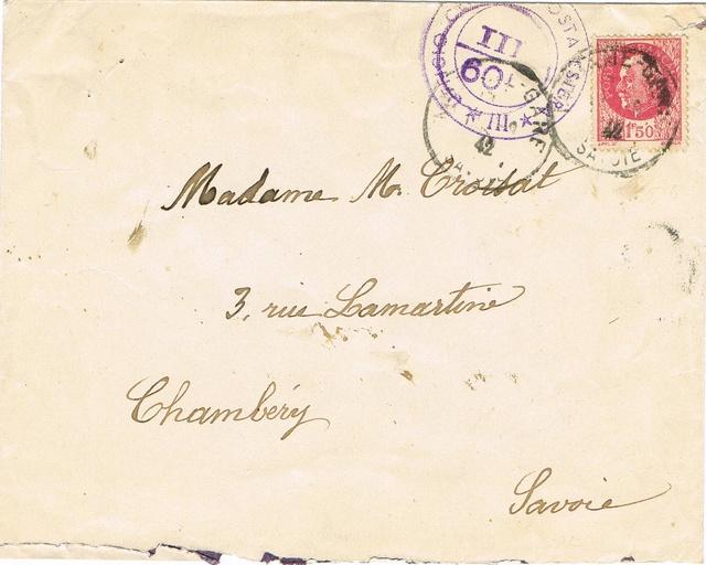 La censure italienne d'occupation en France avant l'invasion de la zone libre : MENTON ou MILAN Ccf14110