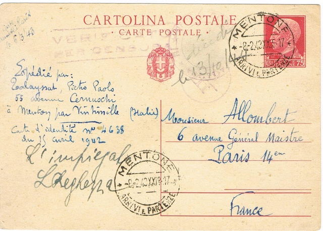 La censure italienne d'occupation en France avant l'invasion de la zone libre : MENTON ou MILAN Ccf18110