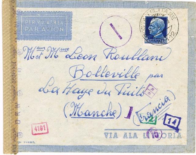 La censure italienne d'occupation en France avant l'invasion de la zone libre : MENTON ou MILAN Ccf18113
