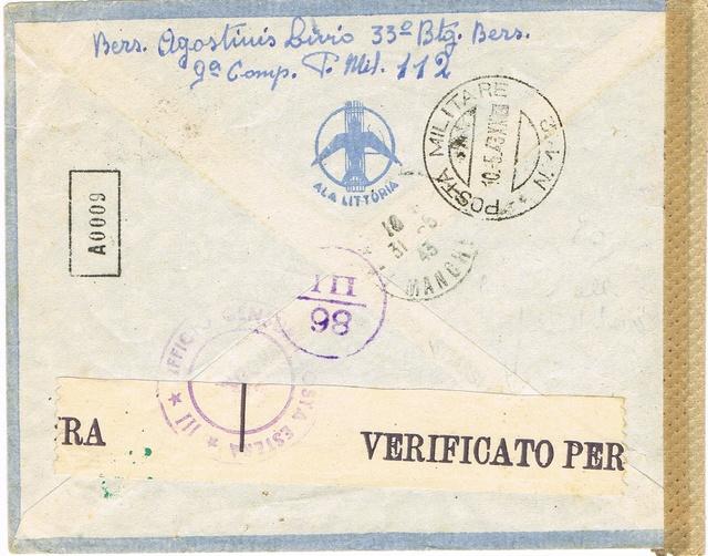 La censure italienne d'occupation en France avant l'invasion de la zone libre : MENTON ou MILAN Ccf18114