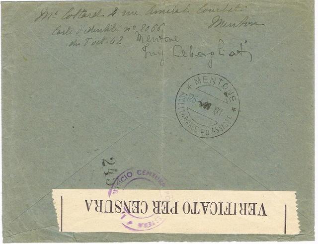 La censure italienne d'occupation en France avant l'invasion de la zone libre : MENTON ou MILAN Ccf18116