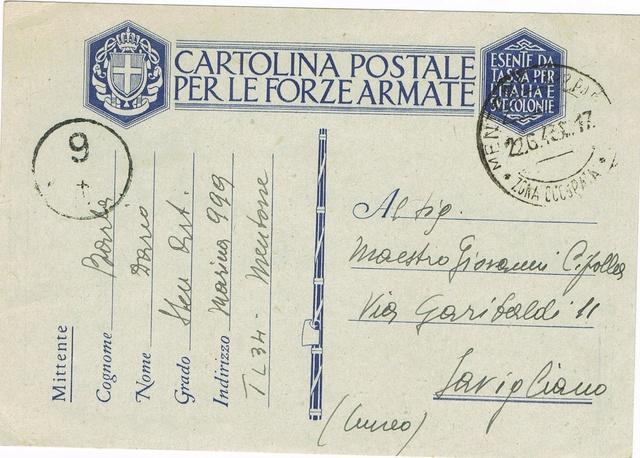 La censure italienne d'occupation en France avant l'invasion de la zone libre : MENTON ou MILAN Ccf18117