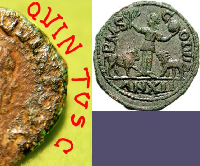 Bronze colonial d'Hostilien pour Vinimacium en Moésie Supérieure Nemaus12