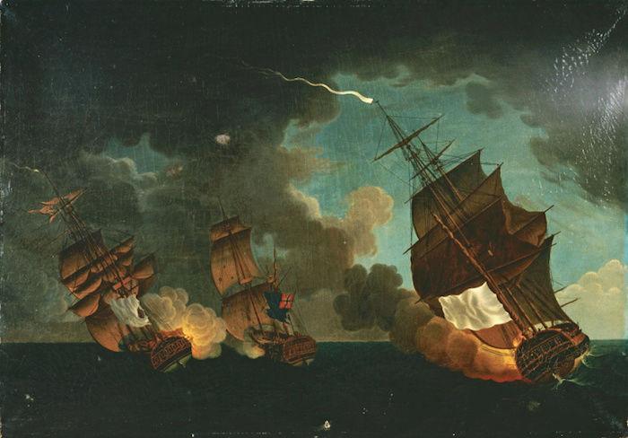 Indépendance - Indépendance des Etats-Unis d'Amérique, les combats sur mer illustrés par Auguste-Louis de Rossel Captu100