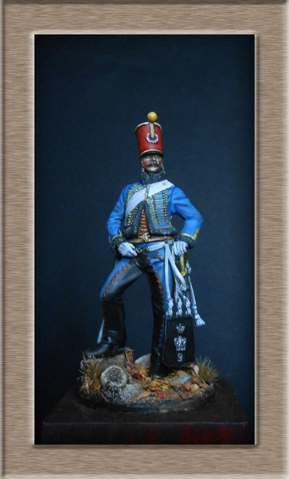 Hussard du 9ème régiment tenue de campagne 1814.Pegasso 54mm. Dscn6217
