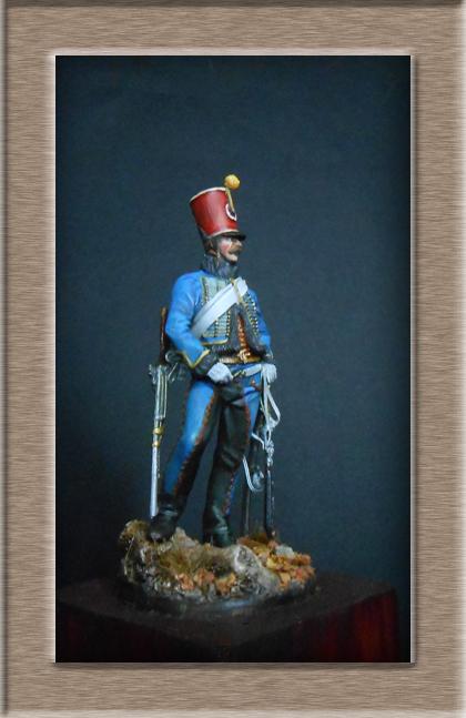 Hussard du 9ème régiment tenue de campagne 1814.Pegasso 54mm. Dscn6218