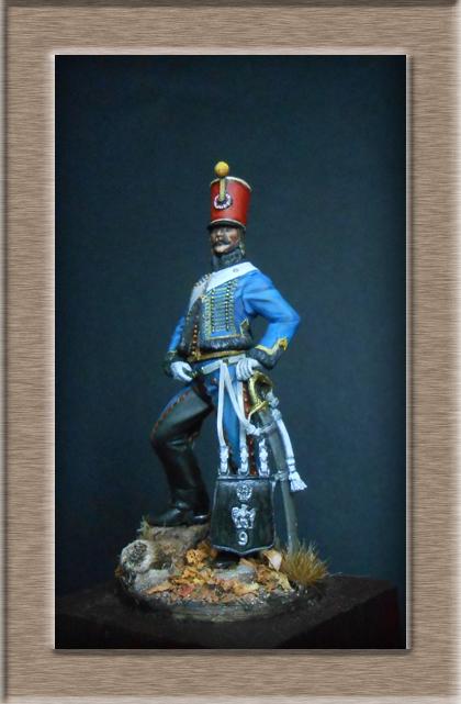 Hussard du 9ème régiment tenue de campagne 1814.Pegasso 54mm. Dscn6219