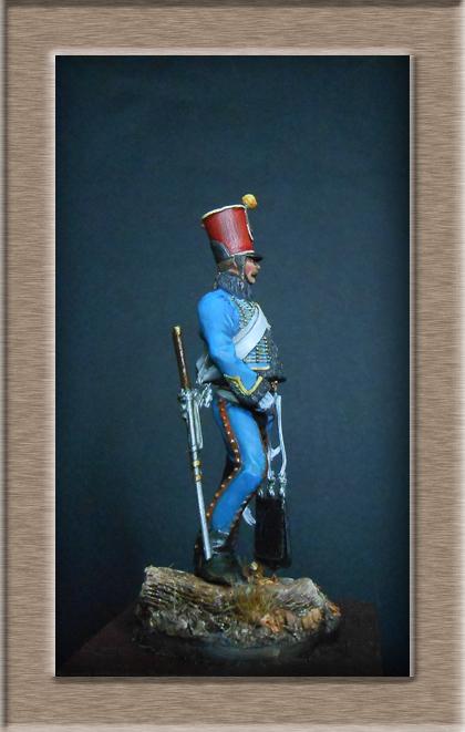 Hussard du 9ème régiment tenue de campagne 1814.Pegasso 54mm. Dscn6220