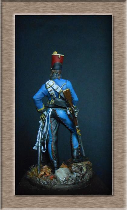 Hussard du 9ème régiment tenue de campagne 1814.Pegasso 54mm. Dscn6221