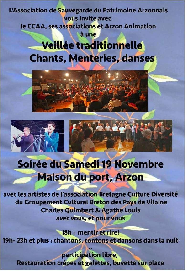 Veillée traditionnelle, chants, menteries, danses, le 21/11/16, 18h00  à la Maison du Port ons no    2016-110