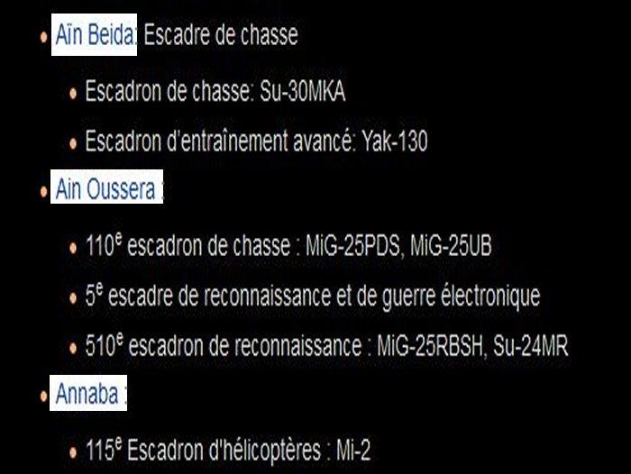 algerie - repartition bases regions et materiel de guerre Algerie A11