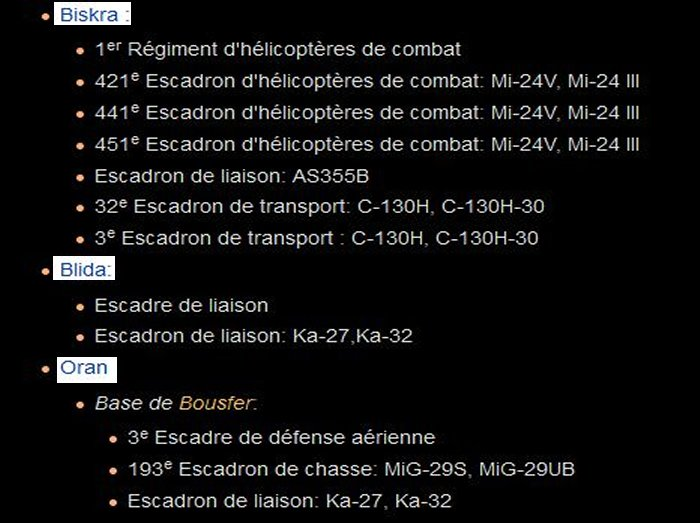 algerie - repartition bases regions et materiel de guerre Algerie B11