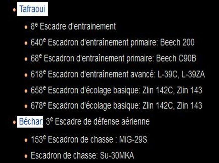 algerie - repartition bases regions et materiel de guerre Algerie C10