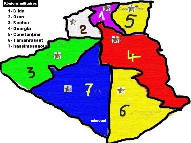 algerie - repartition bases regions et materiel de guerre Algerie Region10
