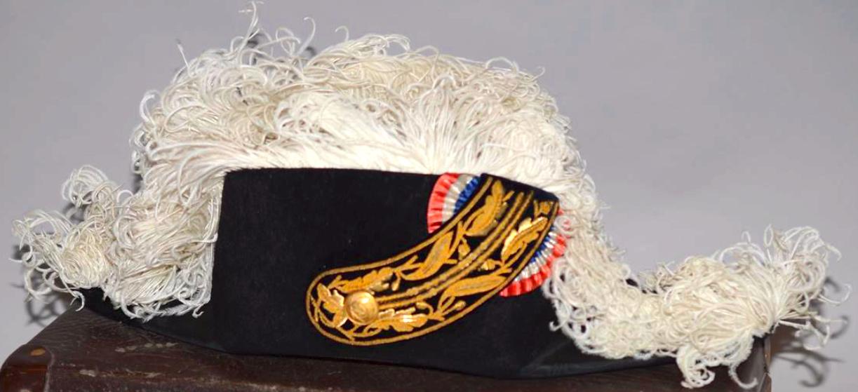 Bicorne à ganse dorée, chêne et laurier, plumes blanches Captur13